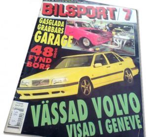 Framsidan av tidningen Bilsport nr 7/94 med Volvo 850 Turbo Plus 5 (senare T-5R) från premiärvisningen i Geneve 1994.